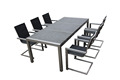 Modern outdoor stainless steel dining set granite table and mesh fabric chairs
