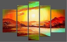 Large Size Modern Stretched and Framed Abstract 5 panels Giclee Canvas Prints Painting on Canvas Wall Art for Home Decor