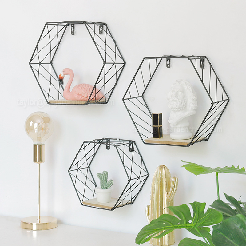 Hexagonal Geometric Iron Grid Wall <strong>Shelf</strong>