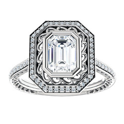 SJE040 SJ Upscale Jewelry Emerald Cut Big Cubic Zirconia Brass White Gold Plating Filigree Folral Wedding Ring