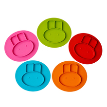 FDA easy clean bunny baby silicone table placemat disposable food plate tray tableware for kids