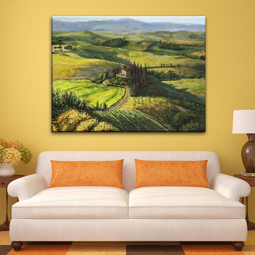 Cheap beautiful peaceful village scenery handmade canvas painting