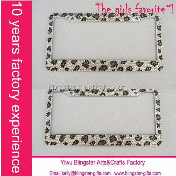 wholesale rhinestones leopard bling license plate frame