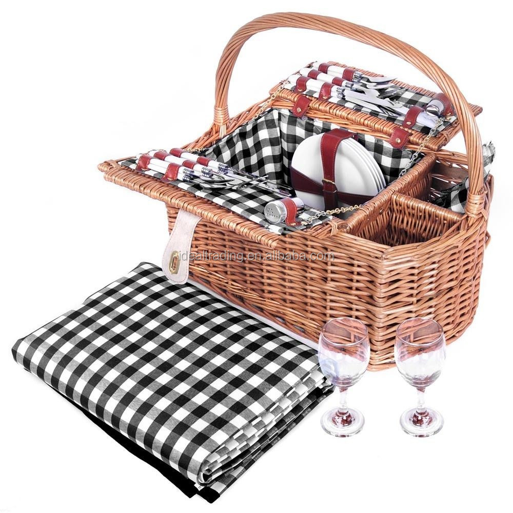 4 person picnic Bamboo/Rattan/wicker basket