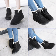 Size 38 EUR Nice Warm Winter Boots, Lace up Ankle Women Snow Shoes -Black