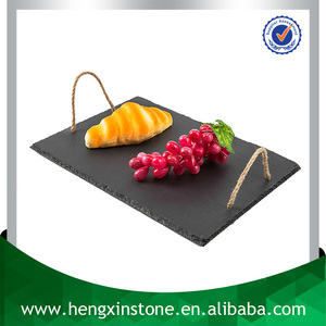 Factory Direct Natural Edge 40*30cm Rectangle Black Restaurant Slate Cheese Board with Twine Handles, Chalkboard Serving Tray