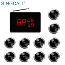 SINGCALL buzzer system for restaurants 1 calling screen dispaly 10 pieces waiter pager