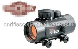 "Riflescopes 1x 30mm red dot For shotguns using up to 3"" shells and handguns up to .357 magnum."