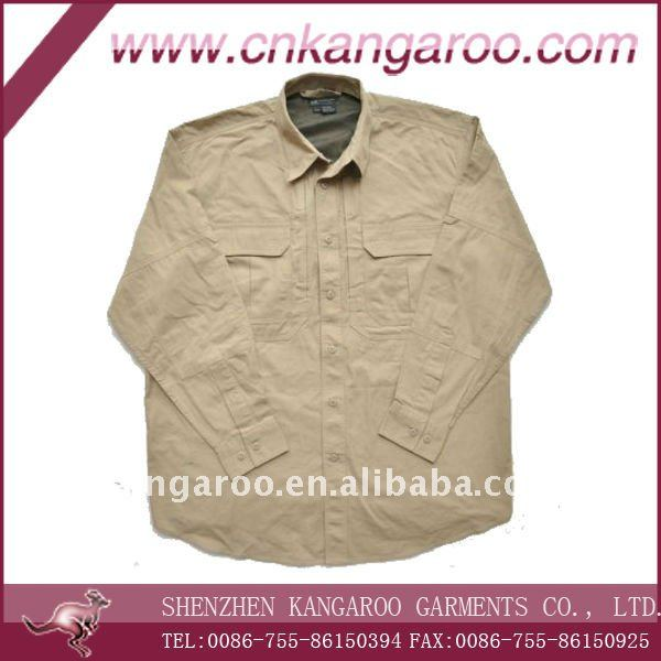 Khaki Men 100%cotton workwear long sleeve with button closure shirts, work wear, work cloth