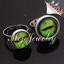 Up to US children's jewelry standard big green stone jewelry multi color universal ccfl angel eyes halo rings