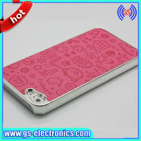 2013 Popular Lovely Cartoon Chrome Electroplate PU Leather Cover Case for iPhone 5