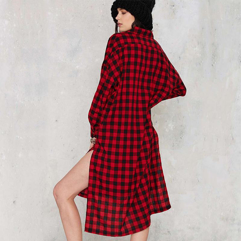 OEM Wholesale Price long sleeves red dress tartan design 100% cotton long simple midi dresses