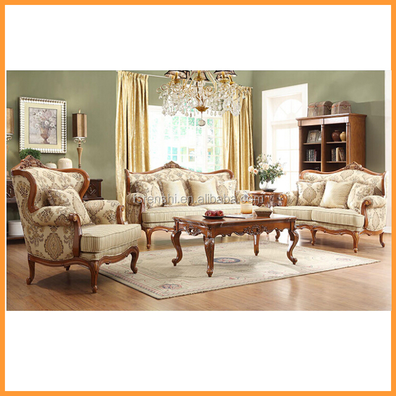 Italian wooden carved sofa set classic luxury European living room furniture