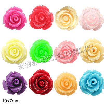 mix wholesale colori 10mm rosa perline fiore resina fiore perlina con foro