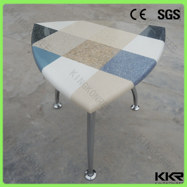 triangle shape table and chairs, solid surface table