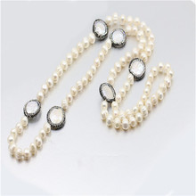 2018 wholesale fashion jewelry 80cm natural freshwater pearl women bead necklace