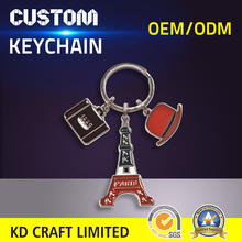 Made in china custom pakistan style metal color filled tower shaped travel souvenir keychain karachi