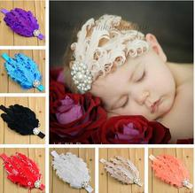 girl Feather Headband with Rhinestone for Girl Hair Accessories kids Baptism Headband