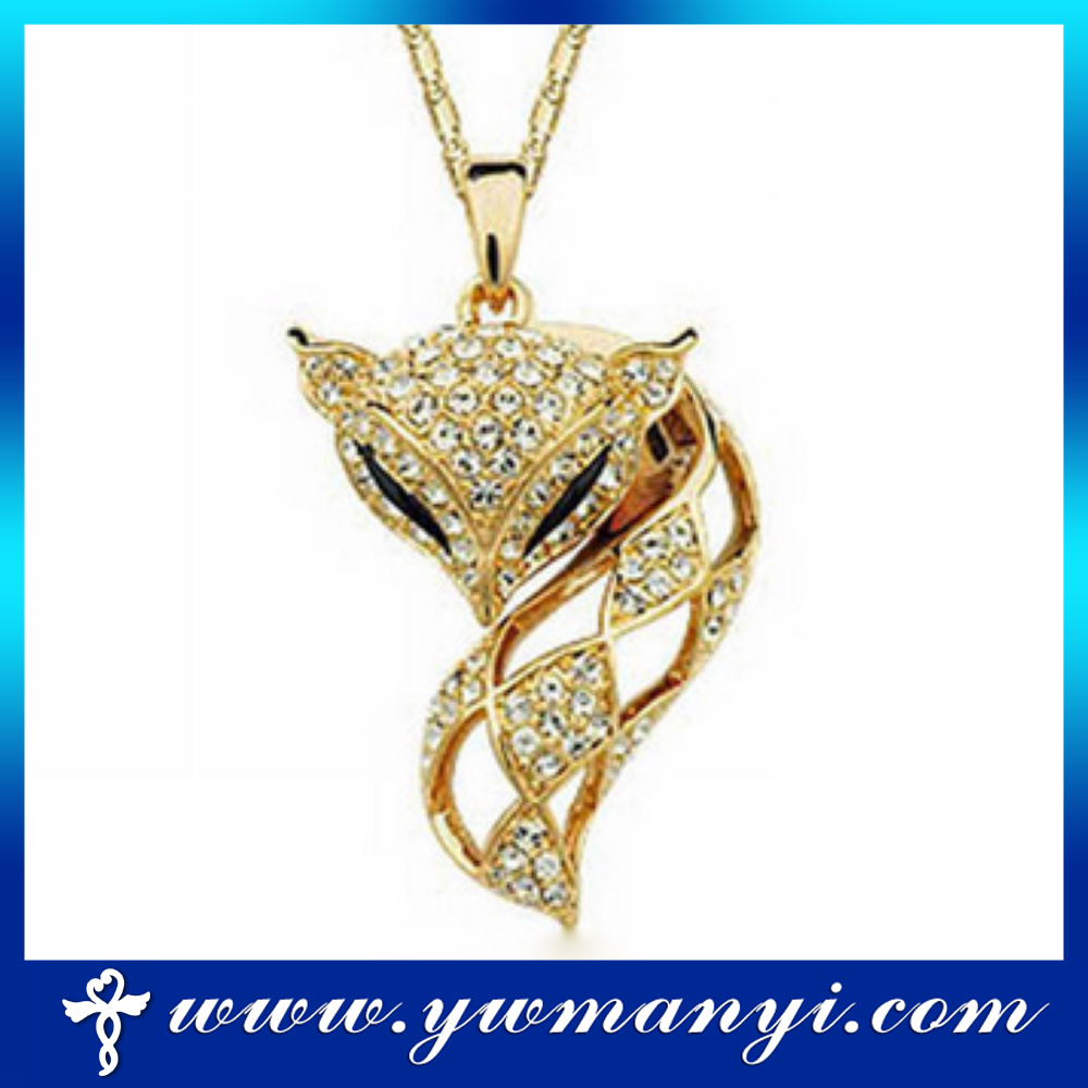 Wholesale sri lankan wedding gold fox designs crystal pandent necklace