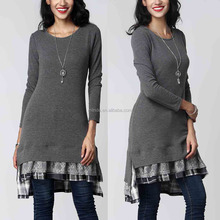 Muslim Women Casual Blouse 97% Rayon / 3% Spandex Long Sleeve Scoop Neck Lace Layered Split-Hem Long Tunics For Muslim Women