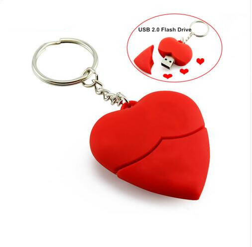 HOT SALE!!!!Best gifts cupid lovely red heart usb flash drive 4gb 8gb 16gb 32gb fashion Valentien's Day gifts