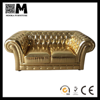 gold color leather furniture Chesterfield sofa solid wood frame leather sofa