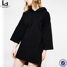 Gym clothing women 3/4 sleeve drawstring plain black long hoodie dress