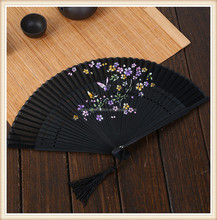 Japan Bamboo Handle Silk Folding Fan With Flower Printing for gift