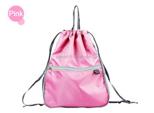 pink color custom cheap polyester foldable shopping tote drawstring bag