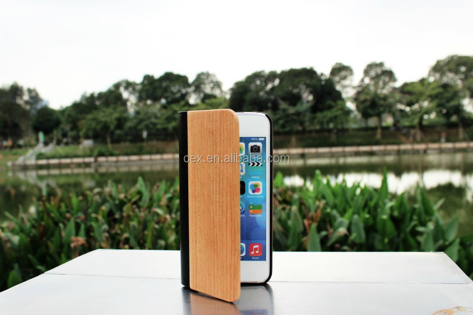 For iPhone 5 5s 4 4s Wholesales Real Wood Wooden Leather Flip Protection Case