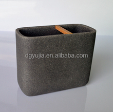 Gray polyresin sandstone Toothbrush holder with wood stick