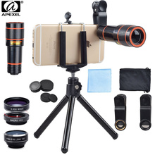 APEXEL Mobile phone camera lens univeral clip 4 in 1 lens set 12x zoom telephoto/tripod/wide angle/macro/fisheye lens for iPhone