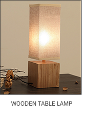 2017 A Wooden Square Fabric Shade Table Lamp For Hotel And Home