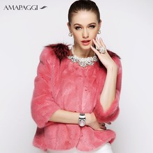 wholesale pink short mink women winter fur coat mink with fox fur