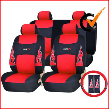 Universal Low Back Synthetic Leather Seat Covers with Embroidery Flame Logos