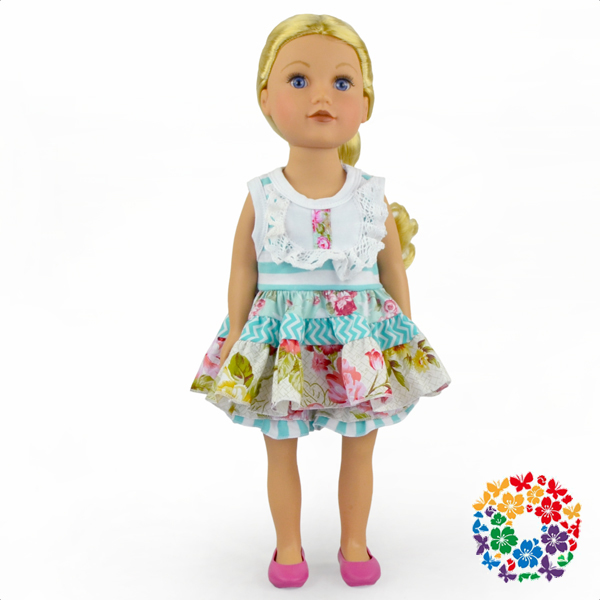 "High quality 18 inch doll clothing wholesale doll clothes 18"" blue dress american doll clothing"