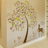 Removable Eco-friendly PVC living room bedroom children's room TV backdrop colorful secret tree wall stickers for decorations