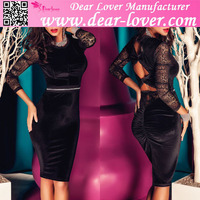 Just arrive fashion women cheap sexy black lace long sleeves formal bodycon velvet midi dress