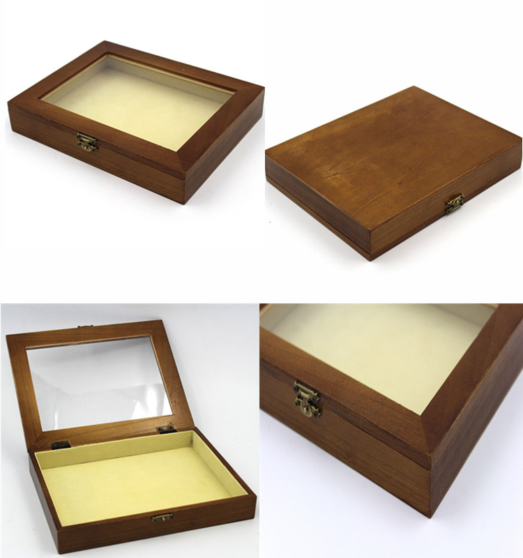 Transparent hinged lid collection wooden box