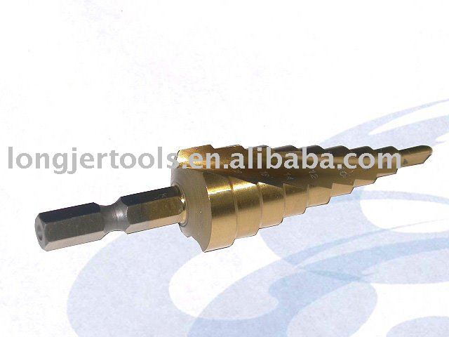 HSS Twist Spiral Step Drill Bit With Titanium Coated For Woodworking Tool