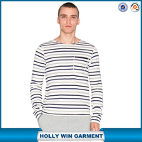 Popular stripe t-shirt with long sleeve casual classic panel pocket softex t-shirts