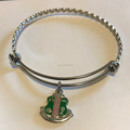 Stainless Steel Alpha Kap Alpha Sorority With Shield Bracelet