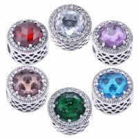 6 Color Radiant Hearts Blush Crystal & Clear CZ Charms Beads Fits Bracelet 925 Sterling Silver Beads Fashion DIY Jewelry Making