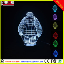 Originnality 3D illusion led cartoon table lamp with battery rechargeable