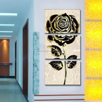 popular hot sales 3panels decorative wall painting portraits sofa backdrop mural painting restaurant black rose flower paintings