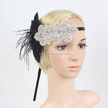 New Coming Vintage Black Feather Silver Headpiece Flapper <strong>Headband</strong> 1920s