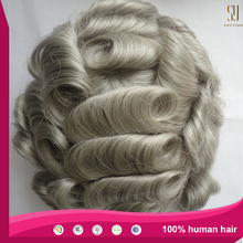 China wholesale quality virgin human hair piece human hair wigs in gray for men