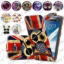 Fashion Patterns Printed Magnetic PU Leather Case Card Holder Top Flip Wallet Phone Cover Skin For Samsung Note2