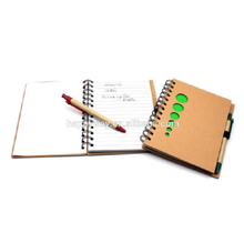 Promotional Environmental School Kraft Note Book With Pens Attached