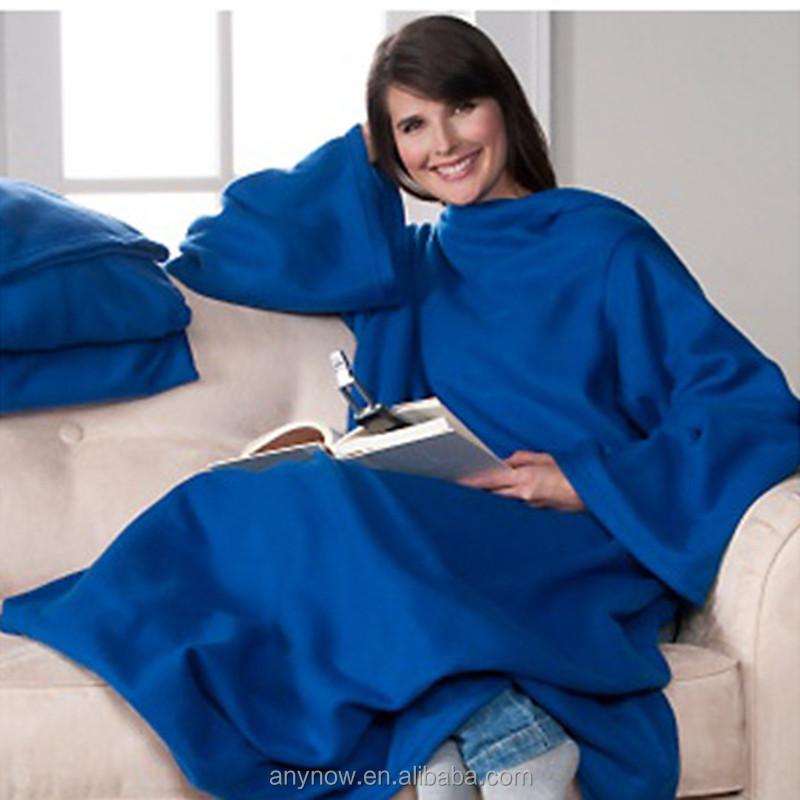 People blanket home winter warm fleece snuggie blanket with sleeves